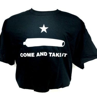 military surplus black come and take it t-shirt with white print