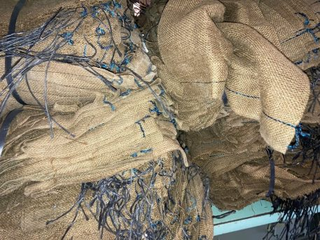 brown military burlap sandbags